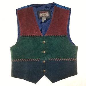 Vtg Suede leather color block patch vest